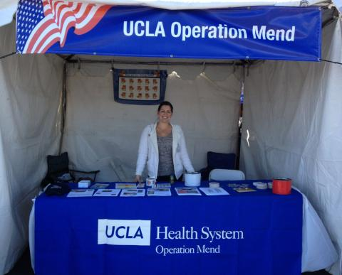 UCLA Operation Mend booth promoted by Lina Berrio of the UCLA Nathanson Family Resilience Center